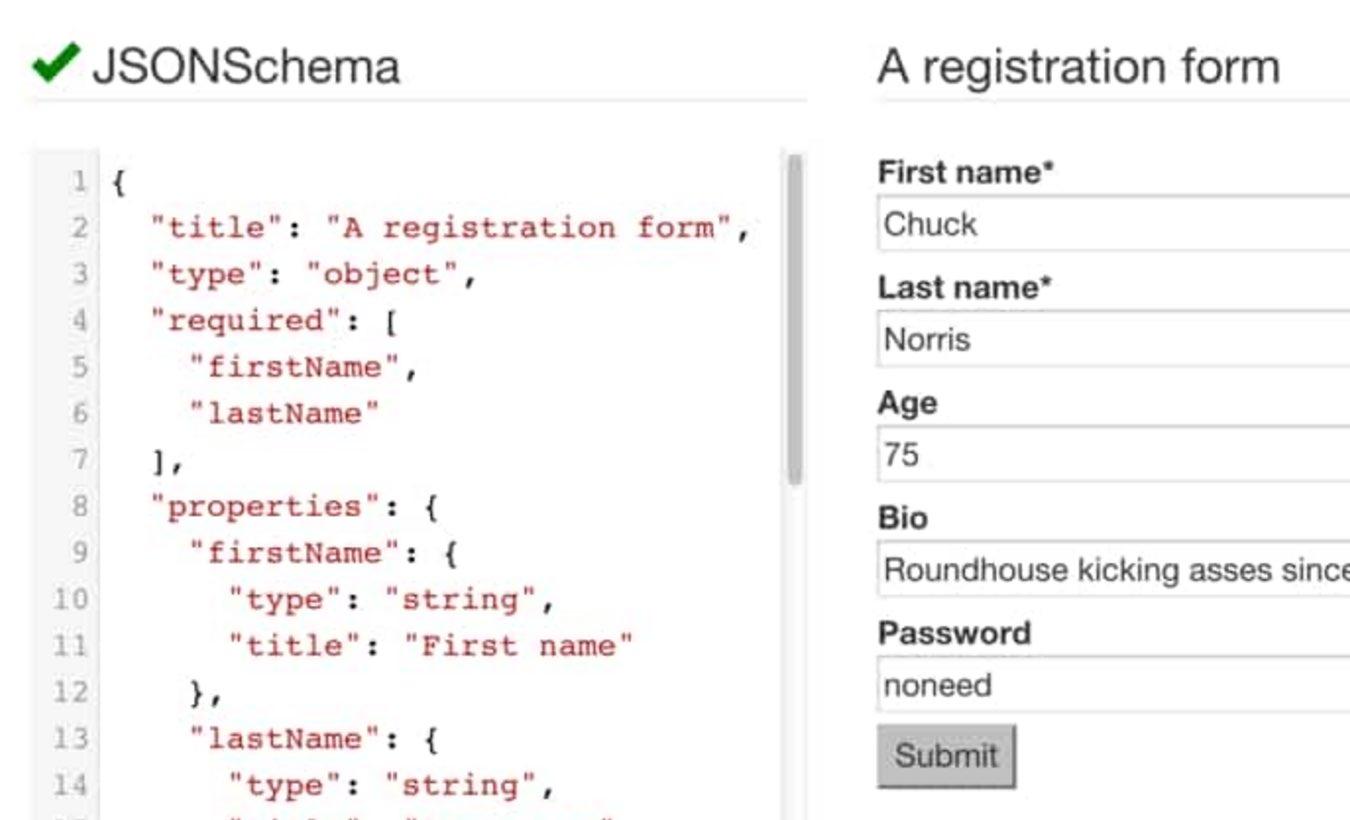 JSON schema Powered React js forms