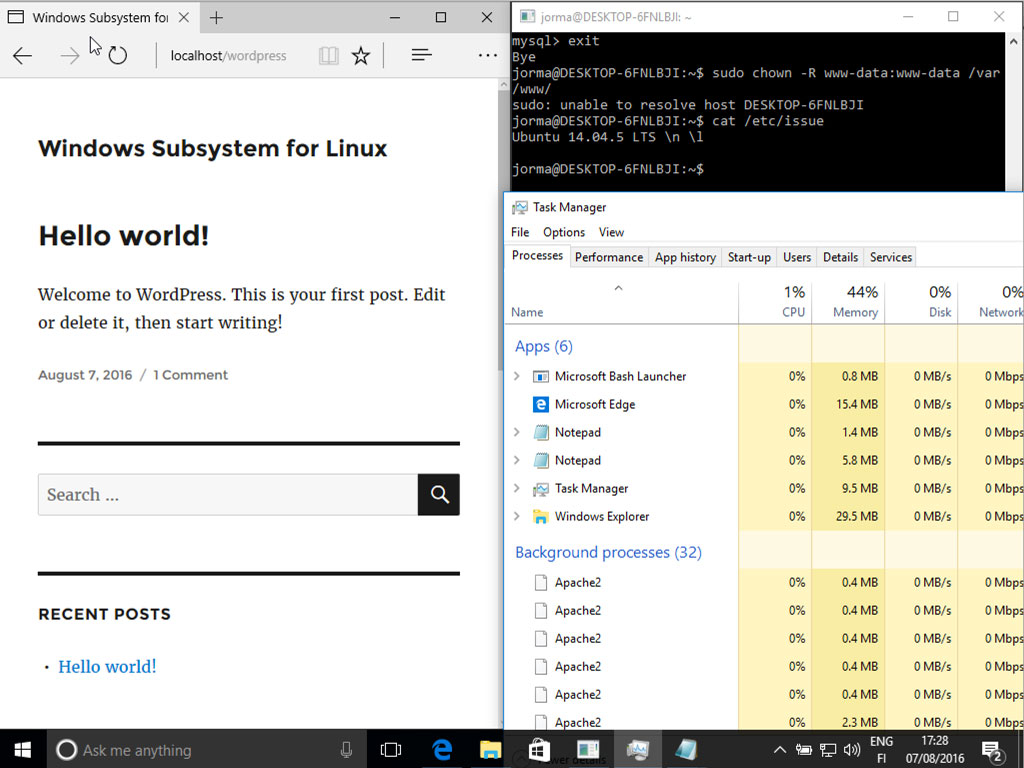 WordPress running on Windows Subsystem for Linux
