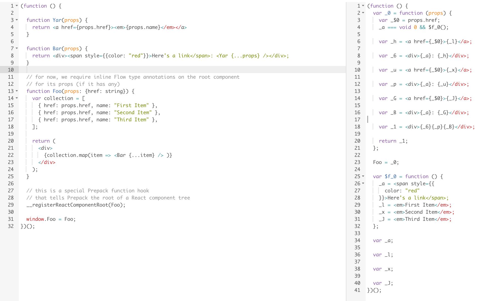 React js and Prepack